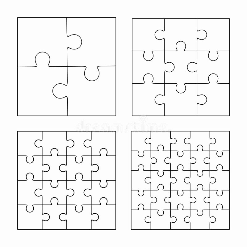 Blank Jigsaw Puzzle Template Beautiful Jigsaw Puzzle Blank Template 3x3 Stock Illustration