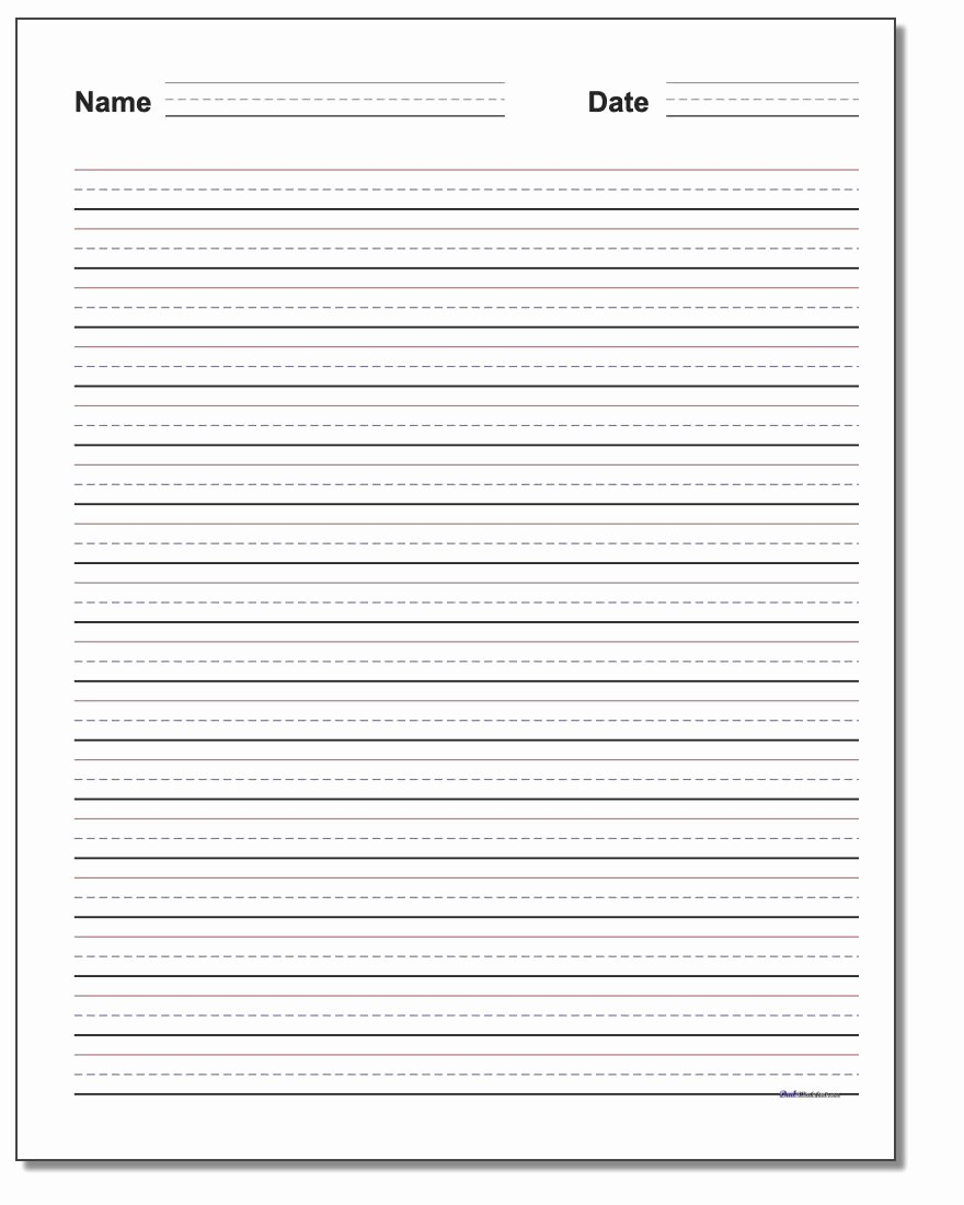 Blank Lined Paper for Kindergarten Unique Handwriting Paper