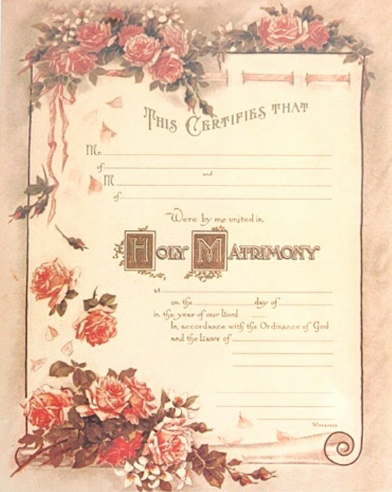 Blank Marriage Certificate Template Awesome Items Similar to Victorian Style Marriage Certificate
