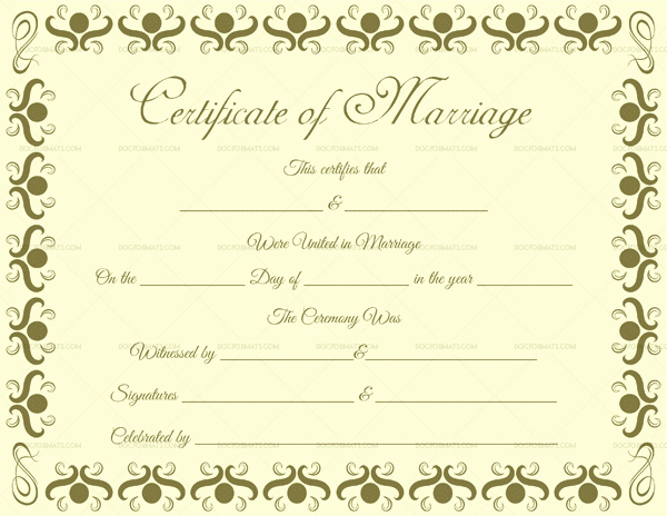 Blank Marriage Certificate Template Beautiful Marriage Certificate Template Write Your Own Certificate