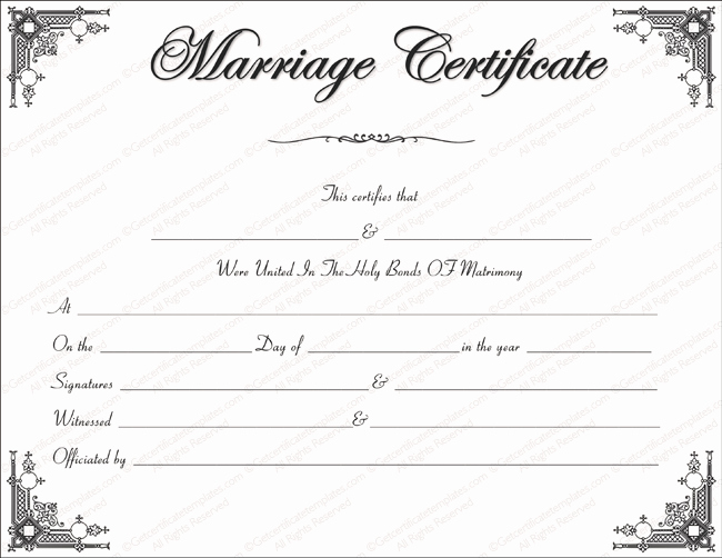 Blank Marriage Certificate Template Best Of Marriage Certificate Template Write Your Own Certificate