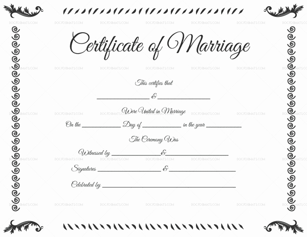 Blank Marriage Certificate Template Fresh Marriage Certificate Template 22 Editable for Word