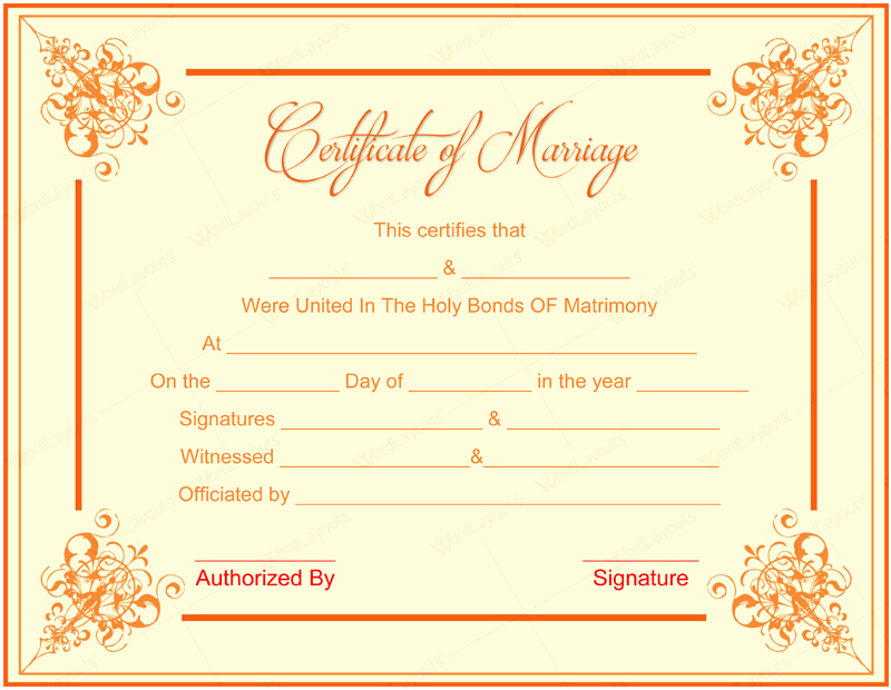 Blank Marriage Certificate Template Inspirational 10 Beautiful Marriage Certificate Templates to Try This Season