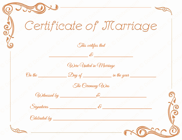 Blank Marriage Certificate Template Inspirational Standard Marriage Certificate Template Dotxes
