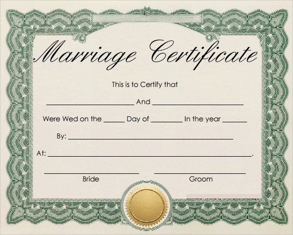 Blank Marriage Certificate Template New 19 Marriage Certificate Templates