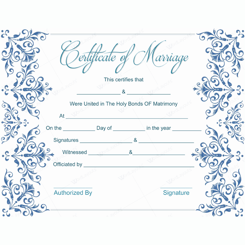 Blank Marriage Certificates Printable Beautiful Fake Marriage Certificate Template Dotxes