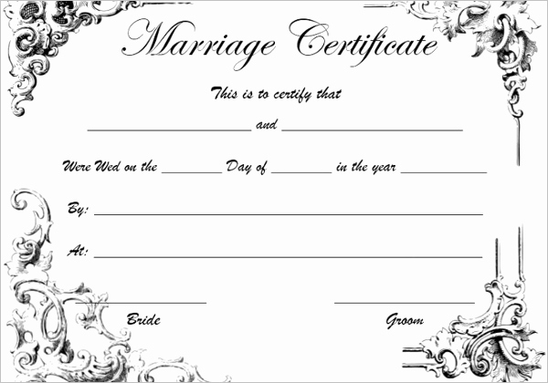 Blank Marriage Certificates Printable Elegant Blank Marriage Certificate Template