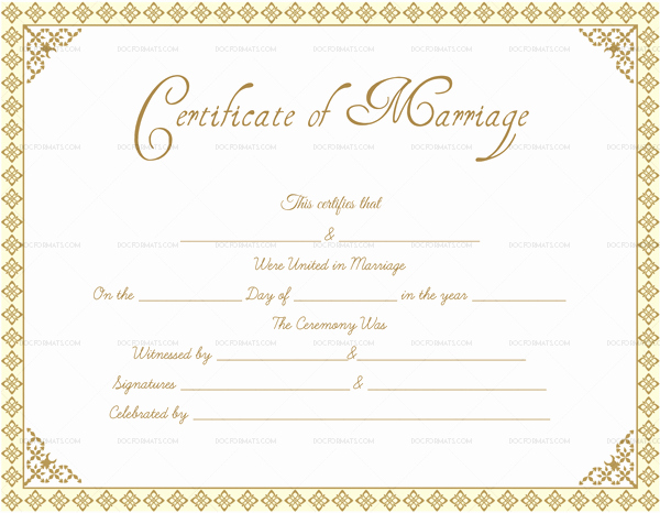 Blank Marriage Certificates Printable Elegant Editable Blank Marriage Certificate Templates for Word
