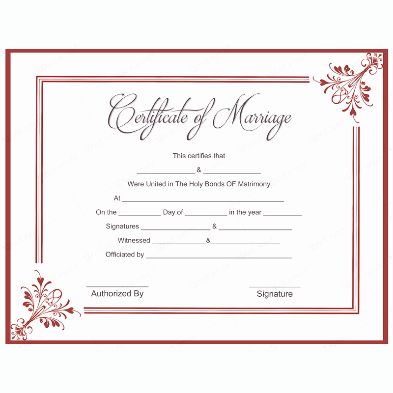 Blank Marriage Certificates Printable Lovely 5 Plus Adorable Blank Marriage Certificate Designs for Word