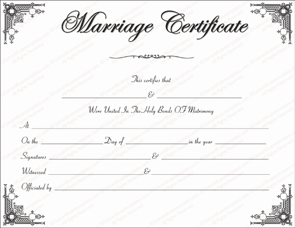 Blank Marriage Certificates Printable Lovely Marriage Certificate format 7 Blank Editable formats