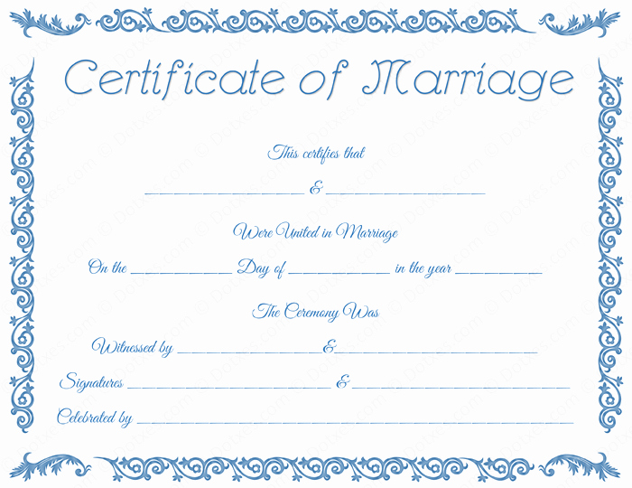 Blank Marriage Certificates Printable Lovely Printable Marriage Certificate Template Dotxes