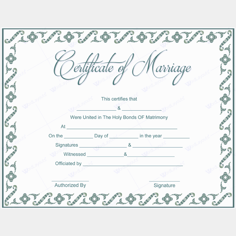 Blank Marriage Certificates Printable Unique 5 Plus Adorable Blank Marriage Certificate Designs for Word
