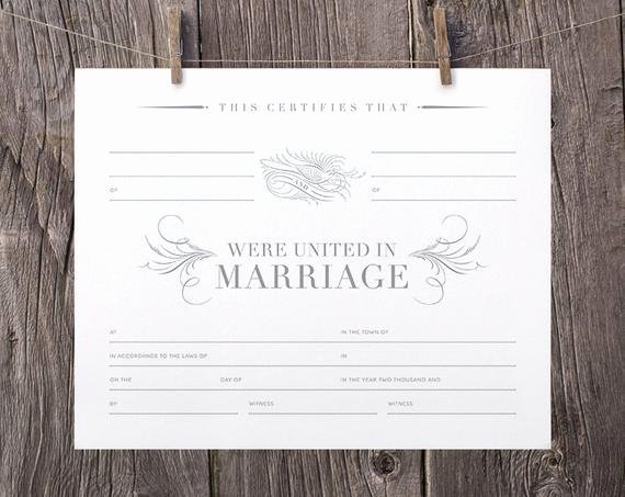 Blank Marriage Certificates Printable Unique 8x10 Printable Marriage Certificate Gray White Blank Marriage