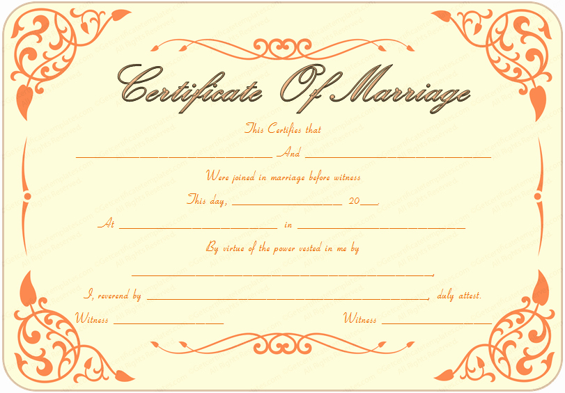 Blank Marriage Certificates Printable Unique Blank Official Marriage