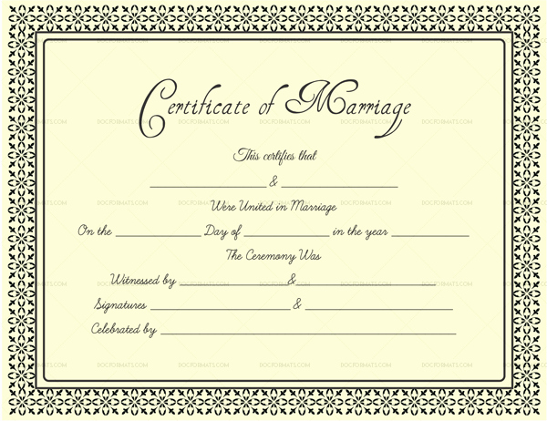 Blank Marriage Certificates Printable Unique Editable Blank Marriage Certificate Templates for Word