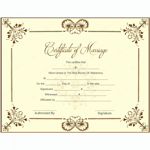 Blank Marriage Certificates Printable Unique Marriage Certificate 05 Microsoft In 2019