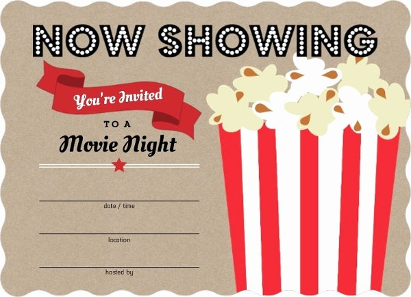 Blank Movie Ticket Template Best Of Movie Popcorn Bucket Fill In the Blank Party Invitations