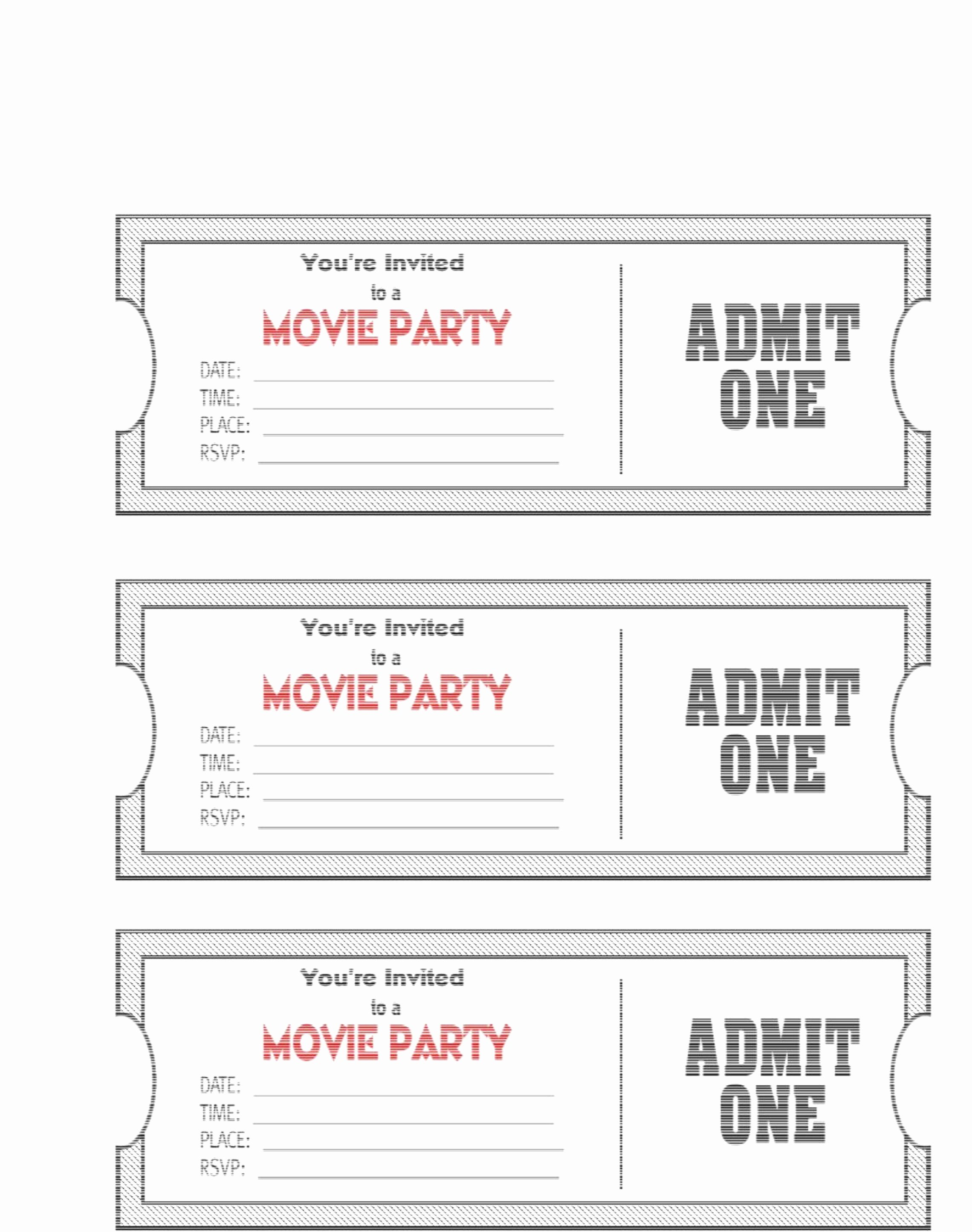 Blank Movie Ticket Template Lovely Free Printable Movie Ticket Template – 40 Free Editable