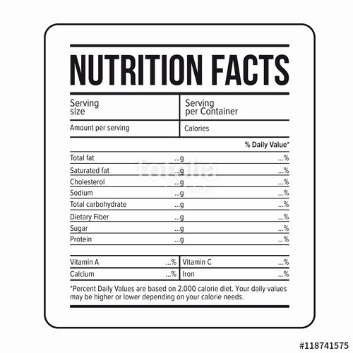 "Blank Nutrition Label Template Luxury ""nutrition Facts Label Template Vector"" Stock Image and"