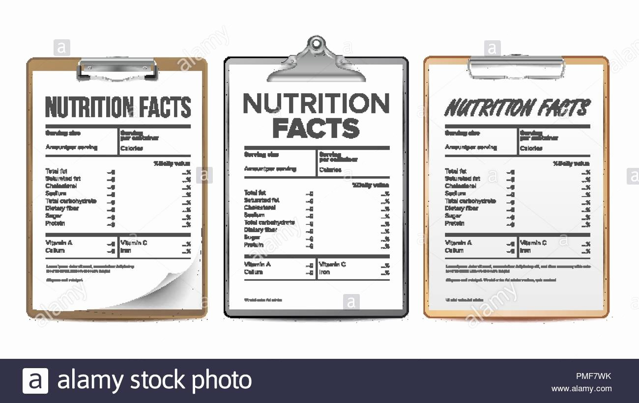 Blank Nutrition Label Template New Guideline Daily Amount Information Stock S