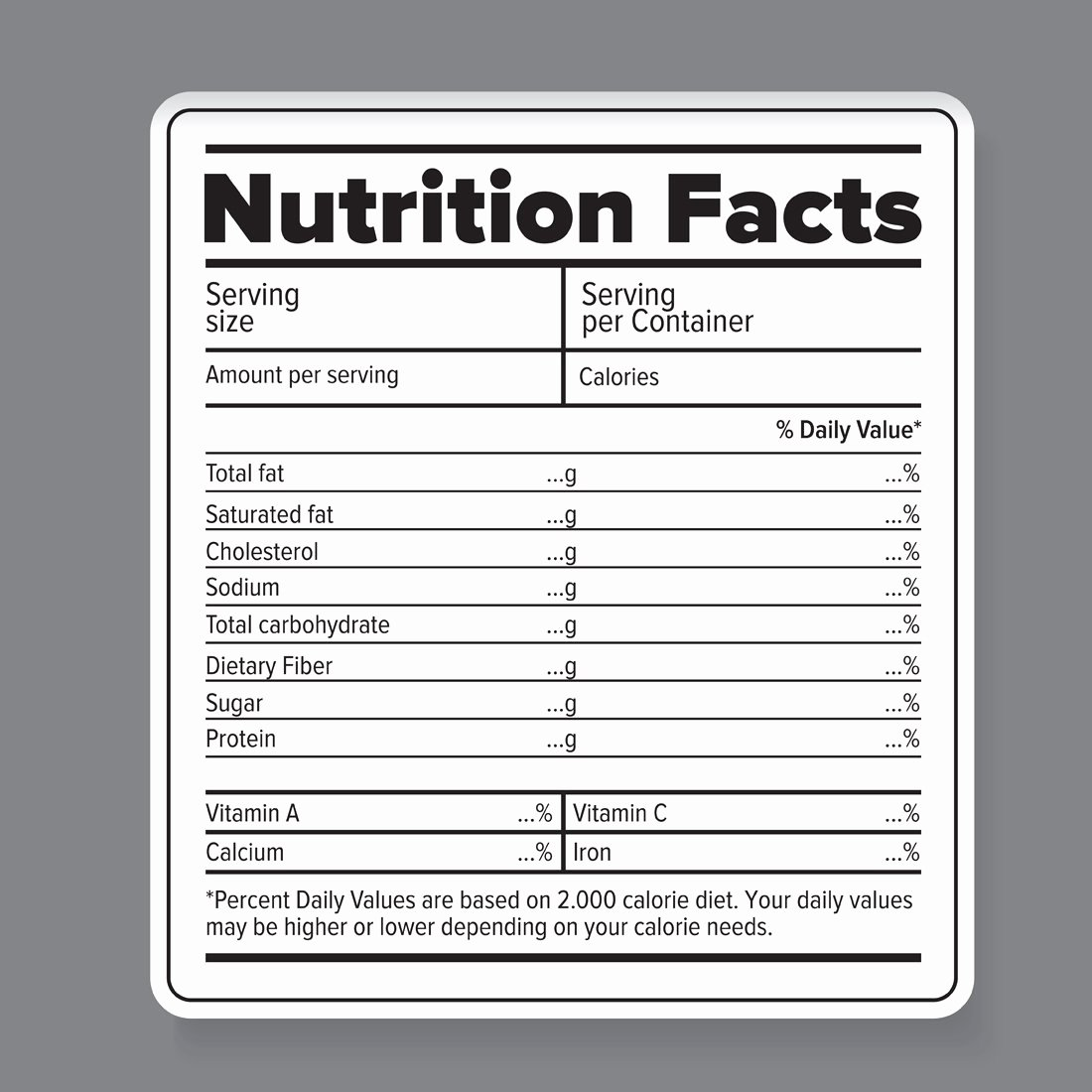 Blank Nutrition Label Template New Nutrition Facts Vector Label Graphic Objects Creative