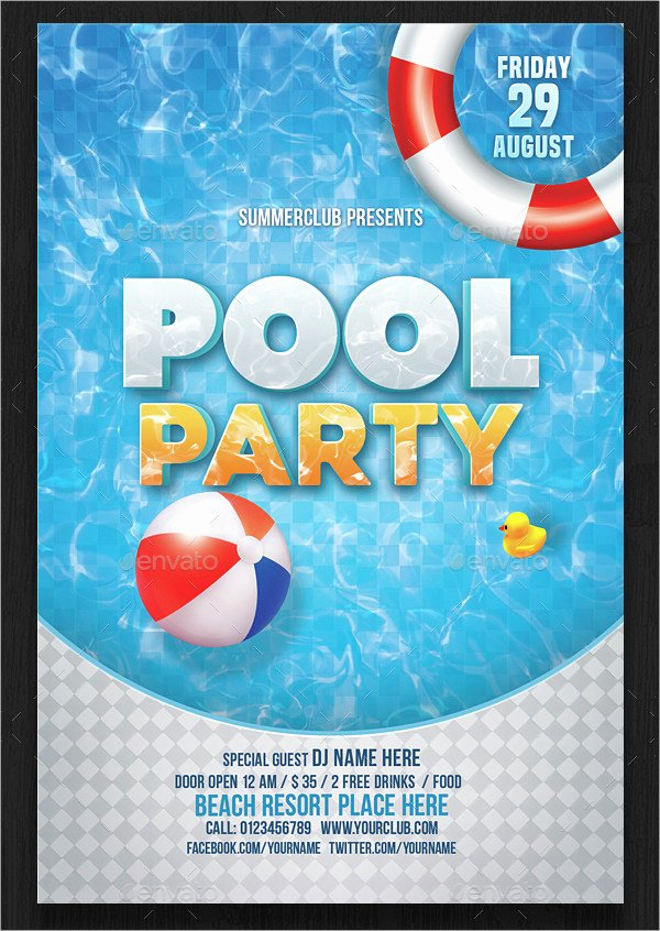 Blank Pool Party Invitations Awesome 33 Printable Pool Party Invitations Psd Ai Eps Word