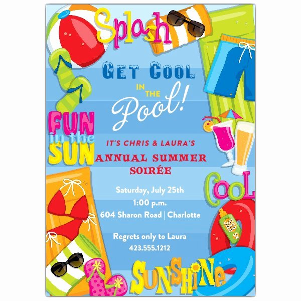 Blank Pool Party Invitations Awesome Cool Summer Pool Party Invitations
