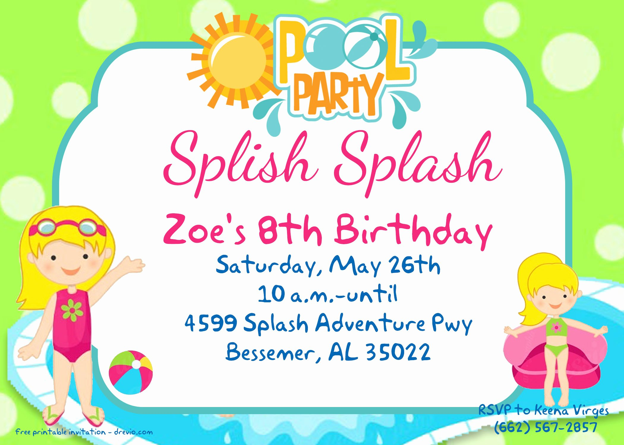 Blank Pool Party Invitations Awesome Free Printable Pool Party for Girls Invitations