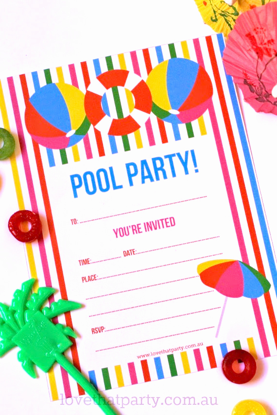 Blank Pool Party Invitations Best Of Free Printable Summer Pool Party Invitation the Girl