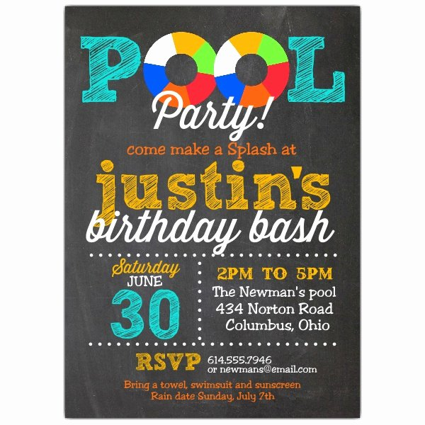 Blank Pool Party Invitations Elegant Pool Party Chalk Invitations