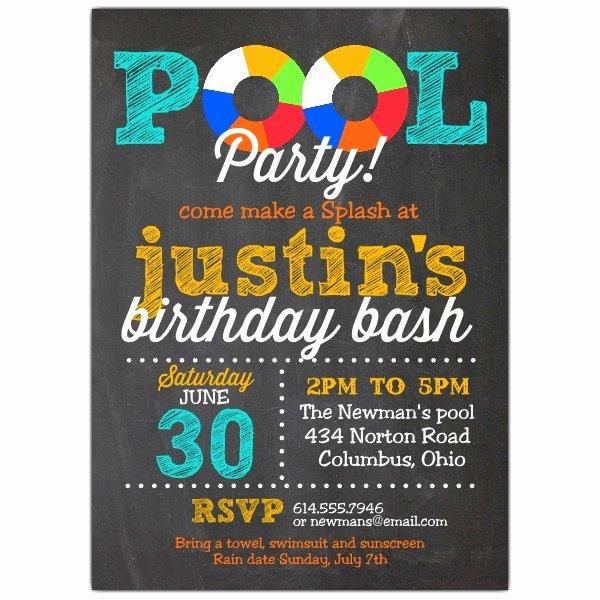 Blank Pool Party Invitations Elegant Pool Party Chalk Invitations