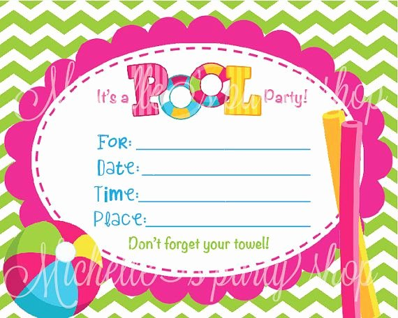 Blank Pool Party Invitations Inspirational Blank Invitations for Girls Turning 12
