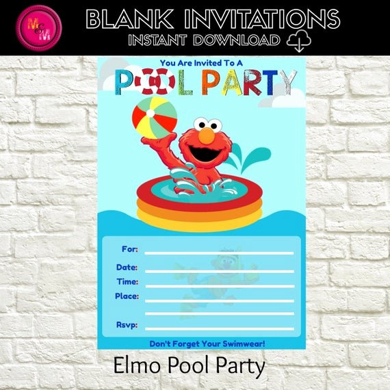 Blank Pool Party Invitations Inspirational Elmo Pool Party Invitation Blank Instant Download Template