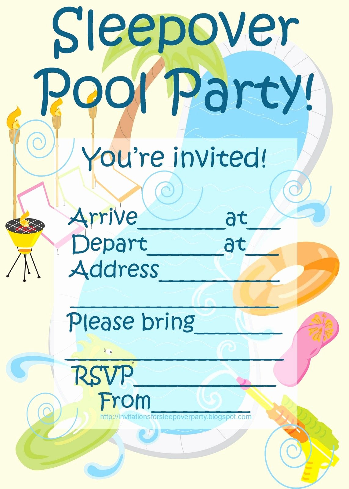 Blank Pool Party Invitations Inspirational Invitations for Sleepover Party Sleepover Pool Party