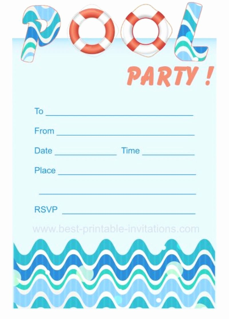 Blank Pool Party Invitations Lovely Blank Pool Party Invitation Template