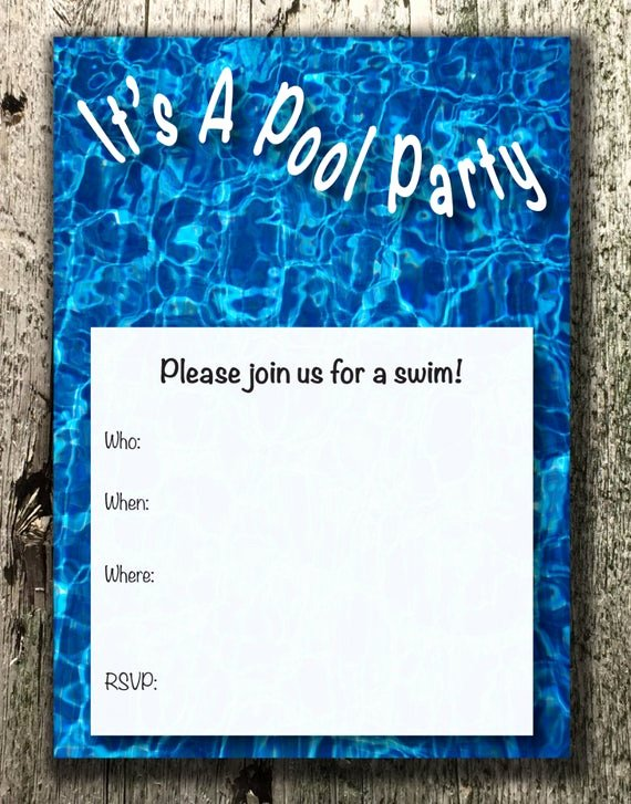 Blank Pool Party Invitations Luxury Blank Pool Party Invitation by Timelessvisionstudio On Etsy