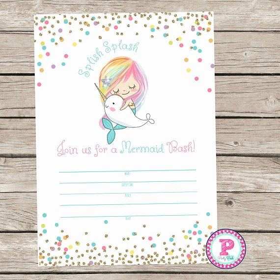 Blank Pool Party Invitations Luxury Mermaid Bash Narwhal Pool Party Fill In the Blank Style