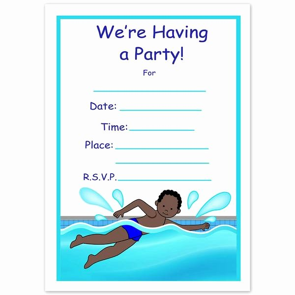 Blank Pool Party Invitations New Swimming Boy Fill In the Blank Birthday Party Invitations