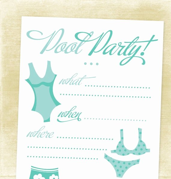 Blank Pool Party Invitations Unique Jacaranda Designs Jewelry Etsy Love Pool Party
