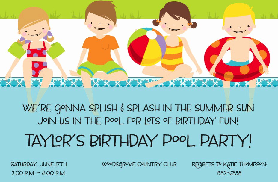 "Blank Pool Party Invitations Unique Quick View Z1 3595 ""poolside Kids Invitation"""