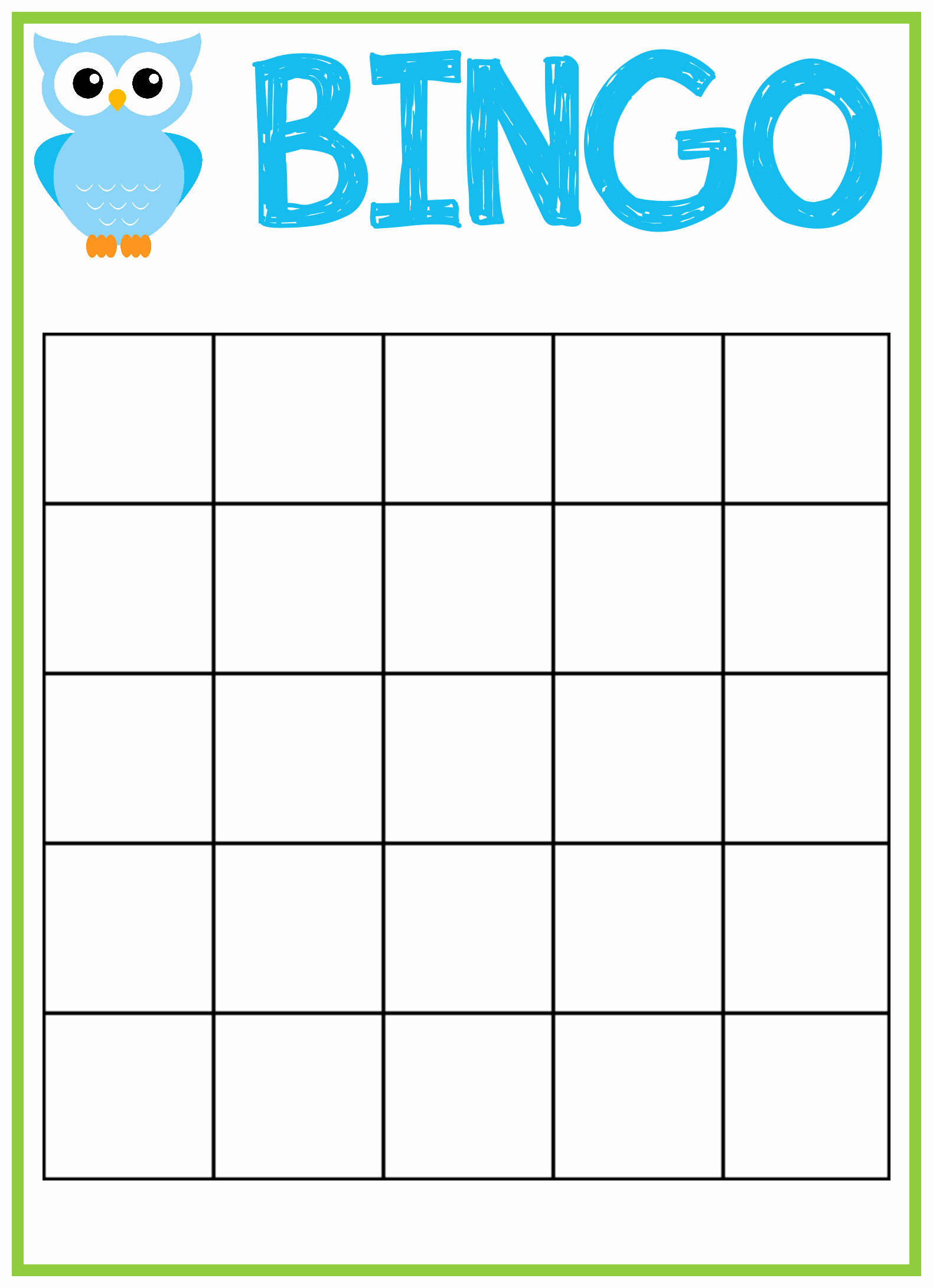 Blank Printable Bingo Cards Inspirational Owl Baby Shower Bingo Cards
