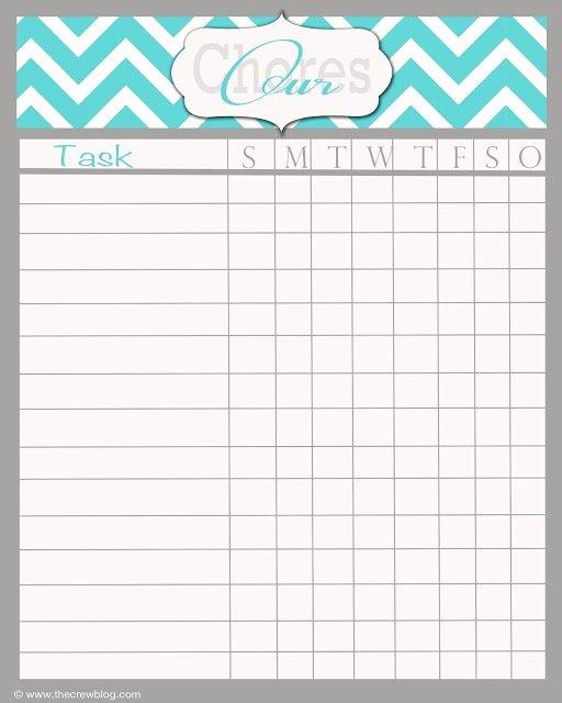 Blank Printable Chore Charts Awesome Free Weekly Chore Chart Printable