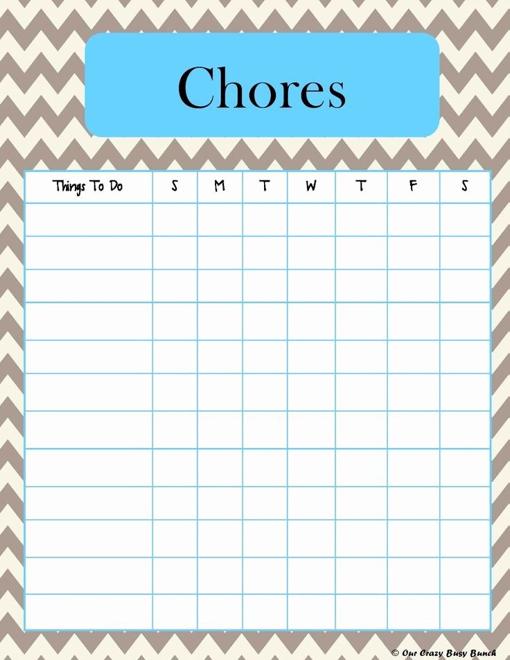 Blank Printable Chore Charts Awesome Printable Kid S Chore Charts Print at Work