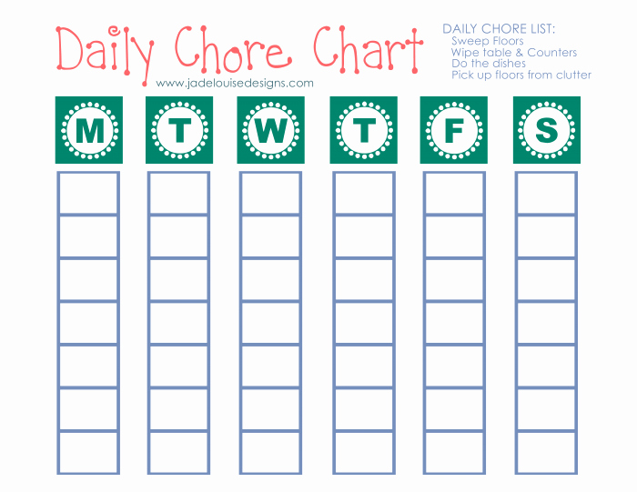 Blank Printable Chore Charts Best Of Cleaning Tips to Reduce Allergies Printable Chore Chart