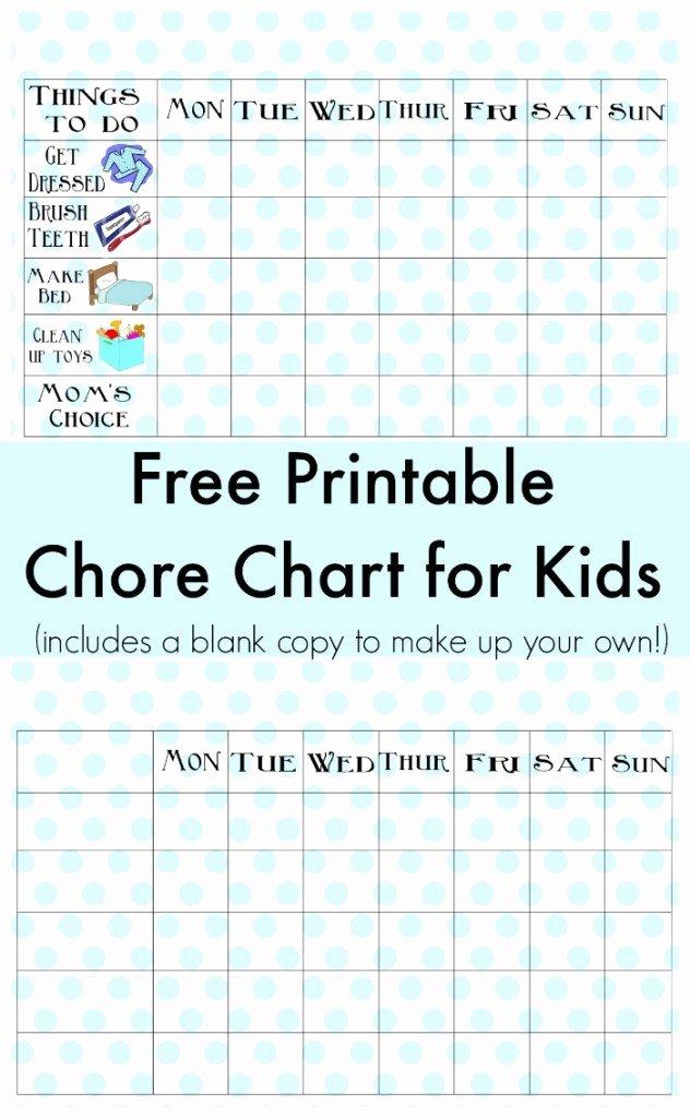 Blank Printable Chore Charts Inspirational Free Printable Chore Chart