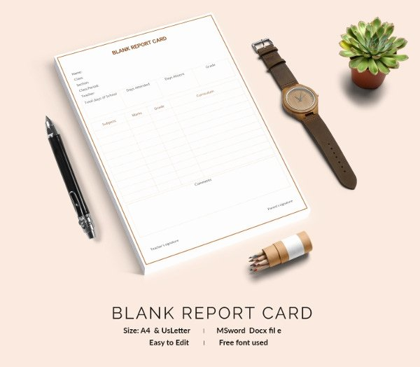 Blank Report Card Template Beautiful Report Card Template 28 Free Word Excel Pdf Documents