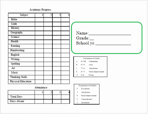 Blank Report Card Template Elegant Planners Transcripts Report Card forms Calendars