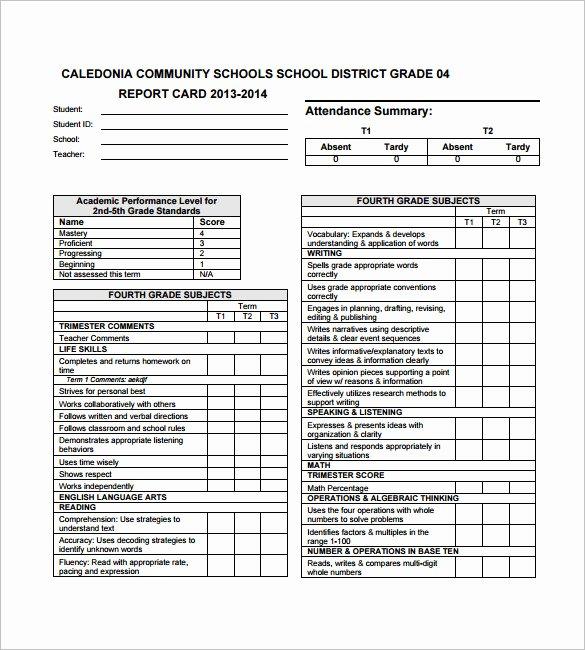 Blank Report Card Template Unique 27 Progress Report Card Templates Google Doc Pdf Psd