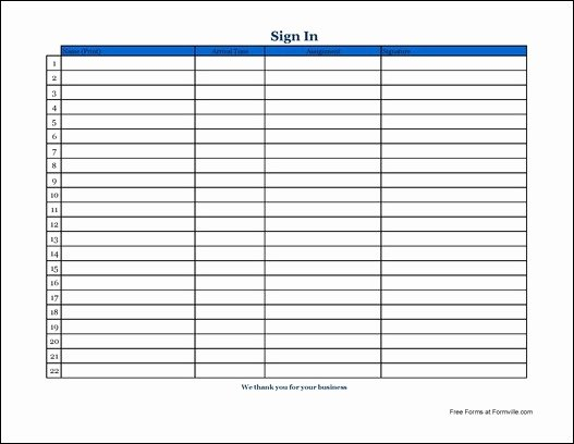 Blank Sign In Sheet Elegant Free Simple Volunteer Sign In Sheet with Signature Wide