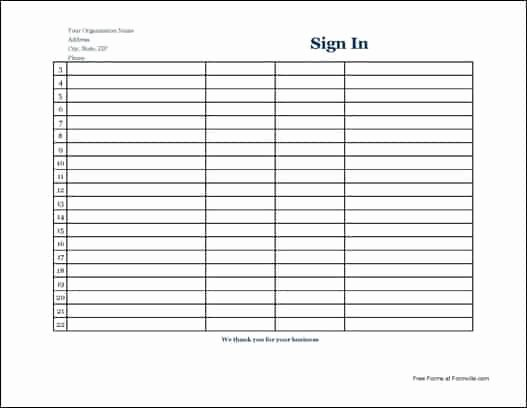 Blank Sign In Sheet Template Lovely 7 Free Sign In Sheet Templates Word Excel Pdf formats